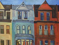 Painting entitled Brownstones